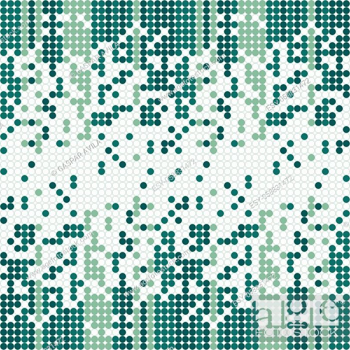 Vecteur de stock: Columns of tiny circles forming a gradient on a white background. Algorithmic pattern in green tones.
