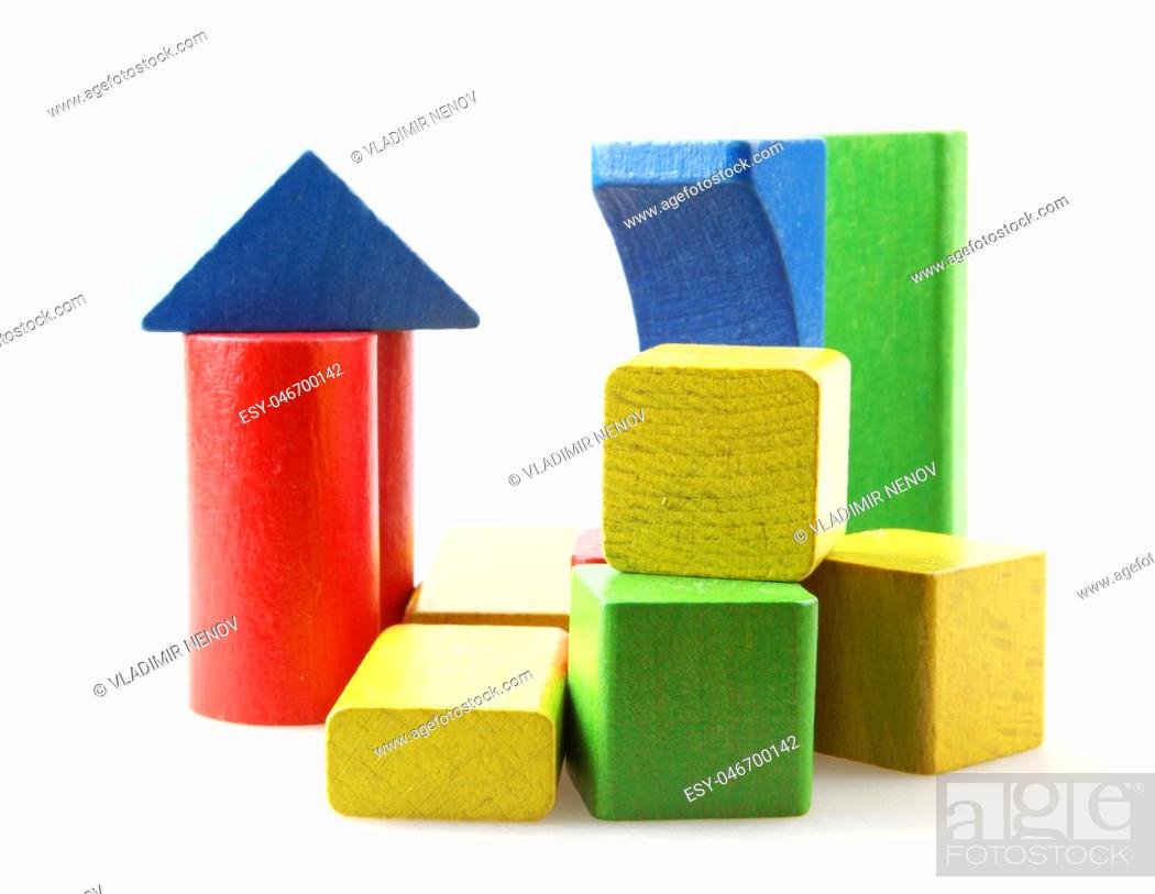Stock Photo: Studio Shot Of Colorful Toy Blocks Against White Background.