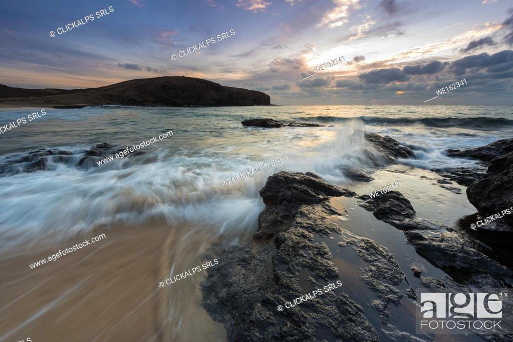 Stock Photo: Los Papayao beach at sunrise, Lanzarote, Canary island, Spain, Europe.