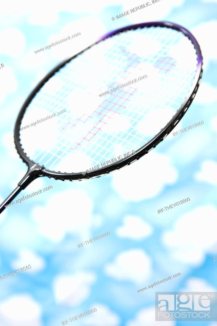 Stock Photo: wallpaper and badminton racket.