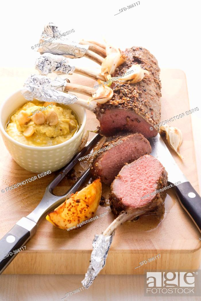 Stock Photo: Middle Eastern rack of lamb with chick-pea puree.