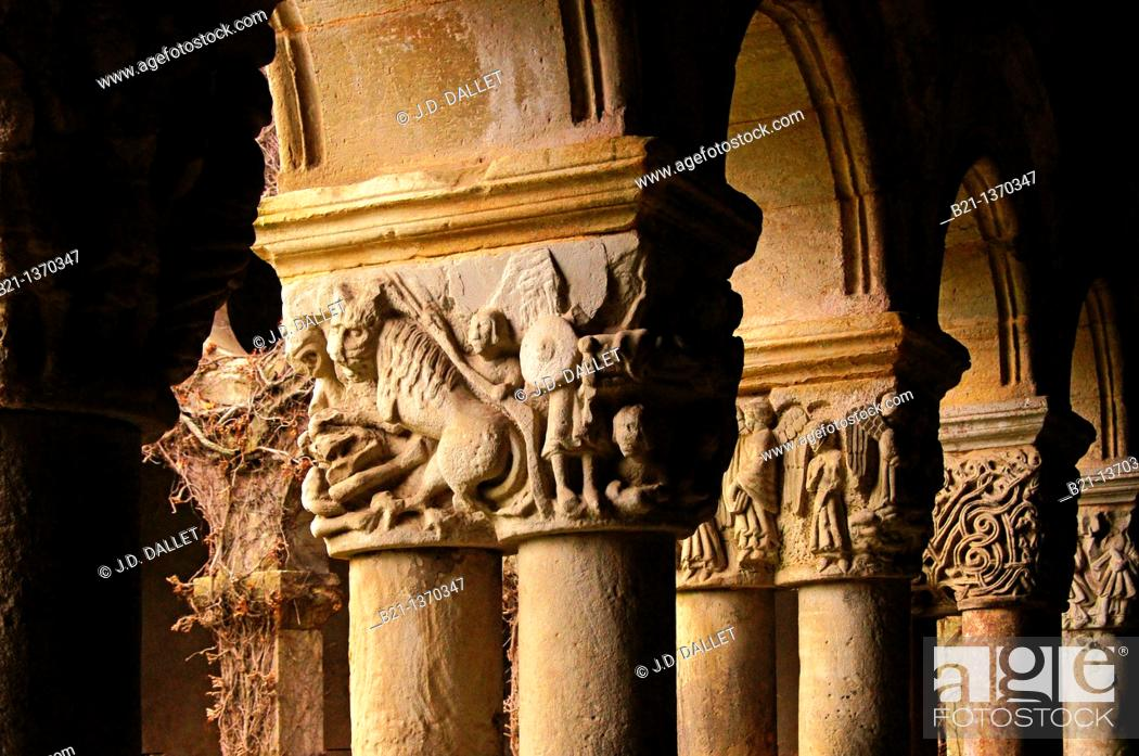 Stock Photo: Scuplted capitals depicting Biblical scenes (12th century), Romanesque cloister of collegiate church, Santillana del Mar, Cantabria, Spain.