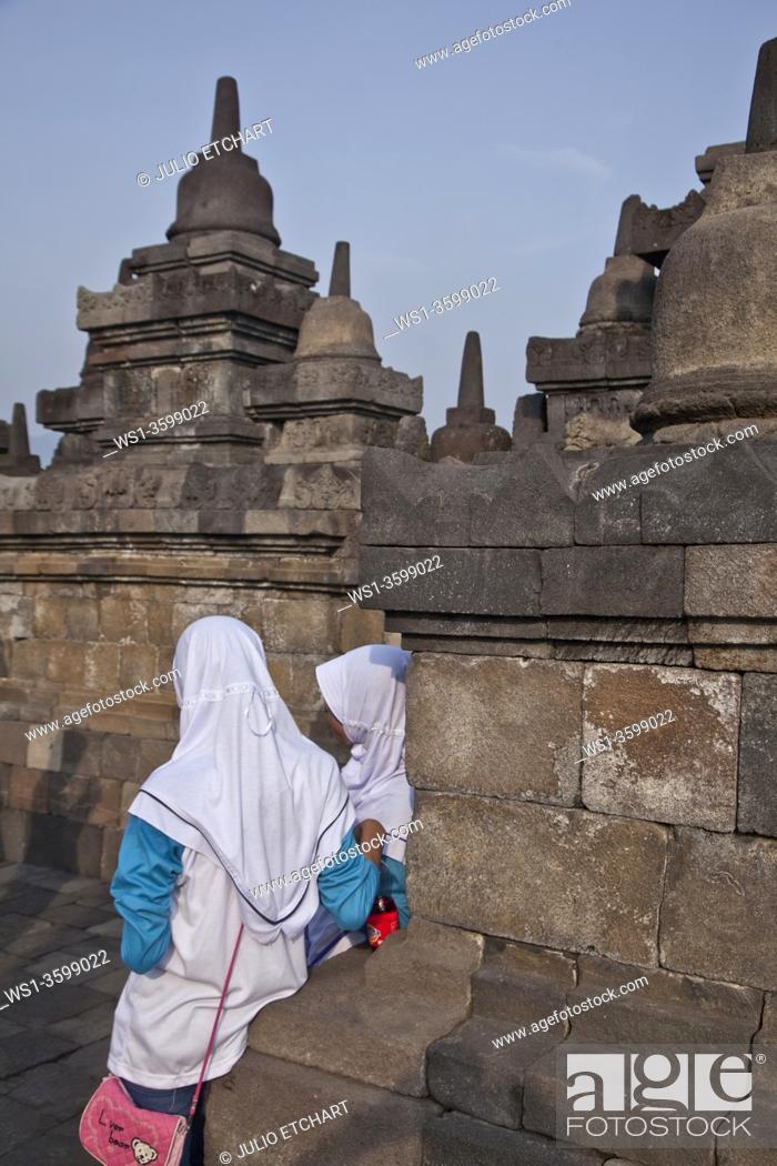 Stock Photo: The ancient Borobudur Buddhist temple near Yogyakarta, Indonesia.