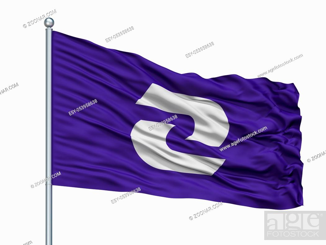 Stock Photo: Komae City Flag On Flagpole, Country Japan, Tokyo Prefecture, Isolated On White Background.