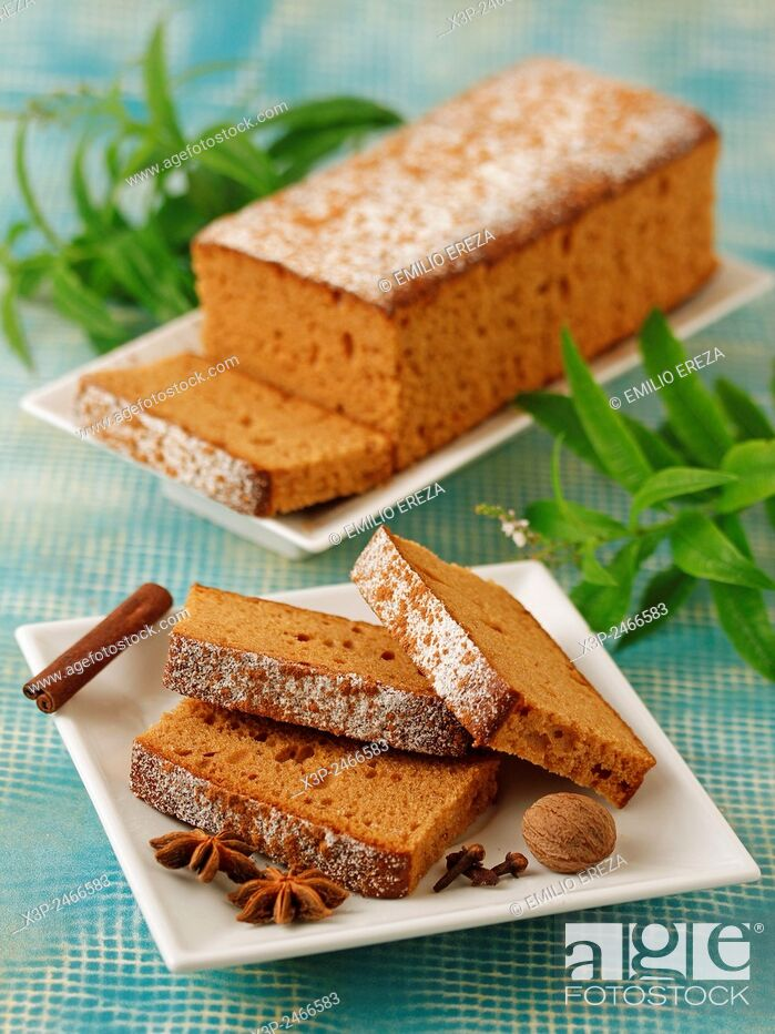 Stock Photo: Sponge cake with honey and spices.