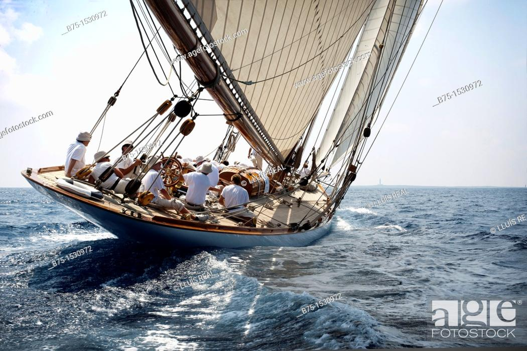 Stock Photo: Boat race, vintage sailboat, Balearic Islands, Spain.