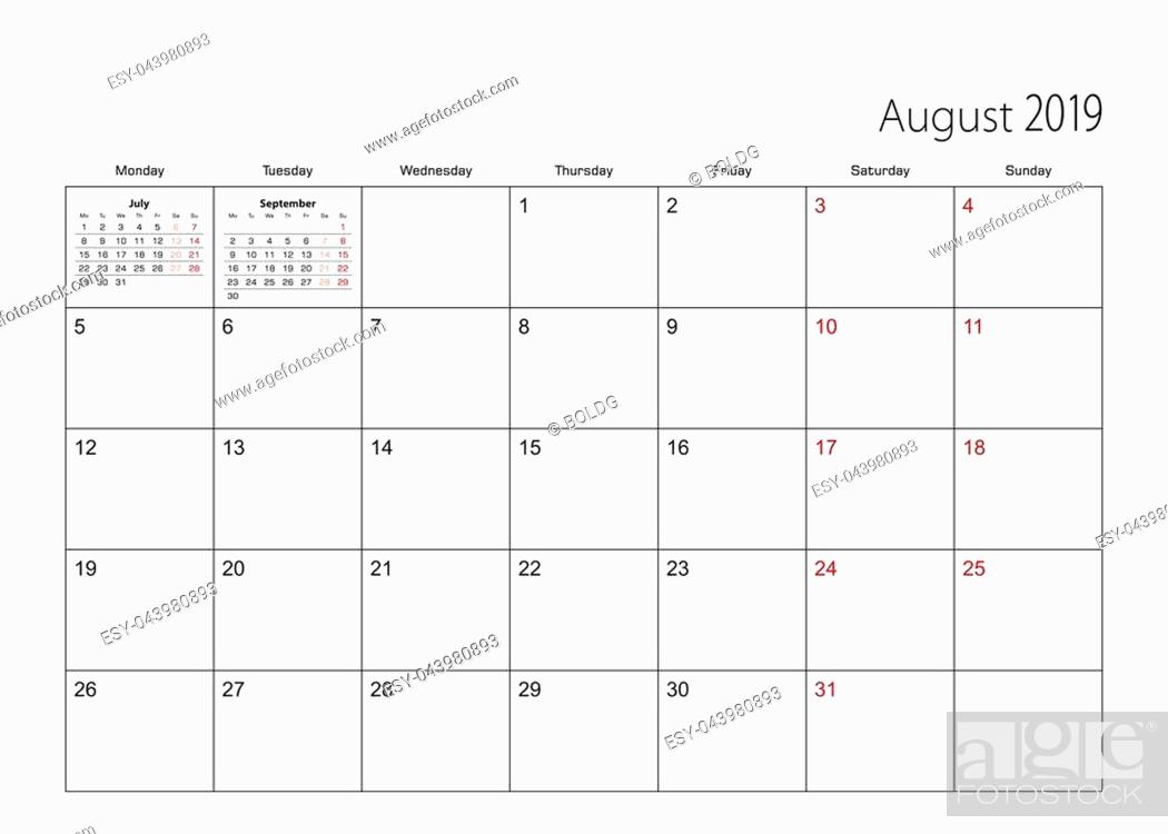Stock Vector: August 2019 simple calendar planner, week starts from Monday.