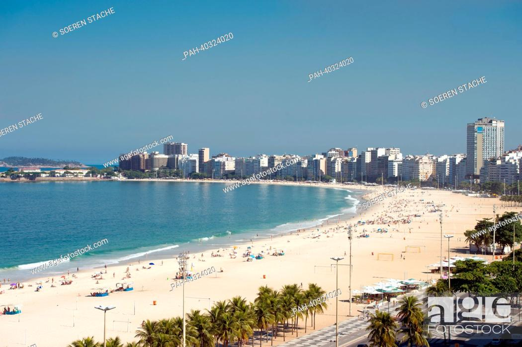 Stock Photo: A view of the famous Copacabana beach in Rio de Janeiro, Brazil, 15 May 2013. Photo: Soeren Stache   usage worldwide. - Rio De Janeiro/Brazil.