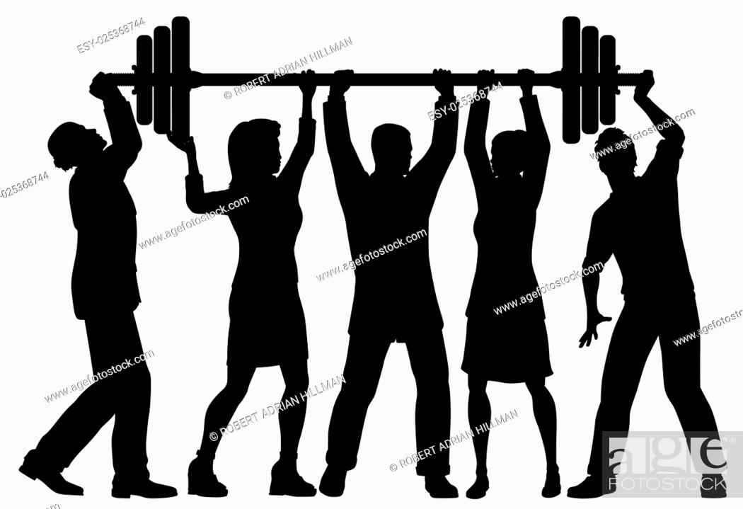 Stock Vector: EPS8 editable vector silhouette of a business team working together to lift a heavy weight barbell with all figures as separate objects.