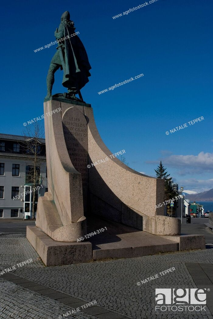 Stock Photo: Leifr Eiricsson statue commemorating Viking discovery of America, in front of Reykjavik Cathedral, Iceland.
