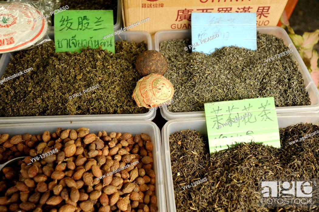 Stock Photo: chinese herbs , tea and spices for sale by weight, Yaowarat Road , chinatown, bangkok, Thailand.