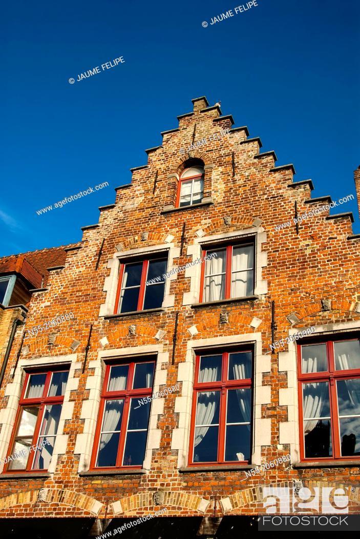 Stock Photo: House facade. Bruges, West Flanders, Belgium.