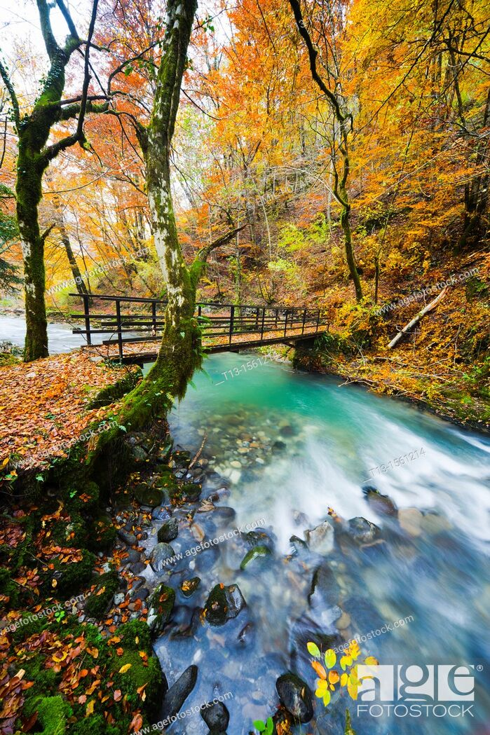 Stock Photo: River Curak in Zeleni vir park near Skrad in Croatia, long exposure tripod shot.