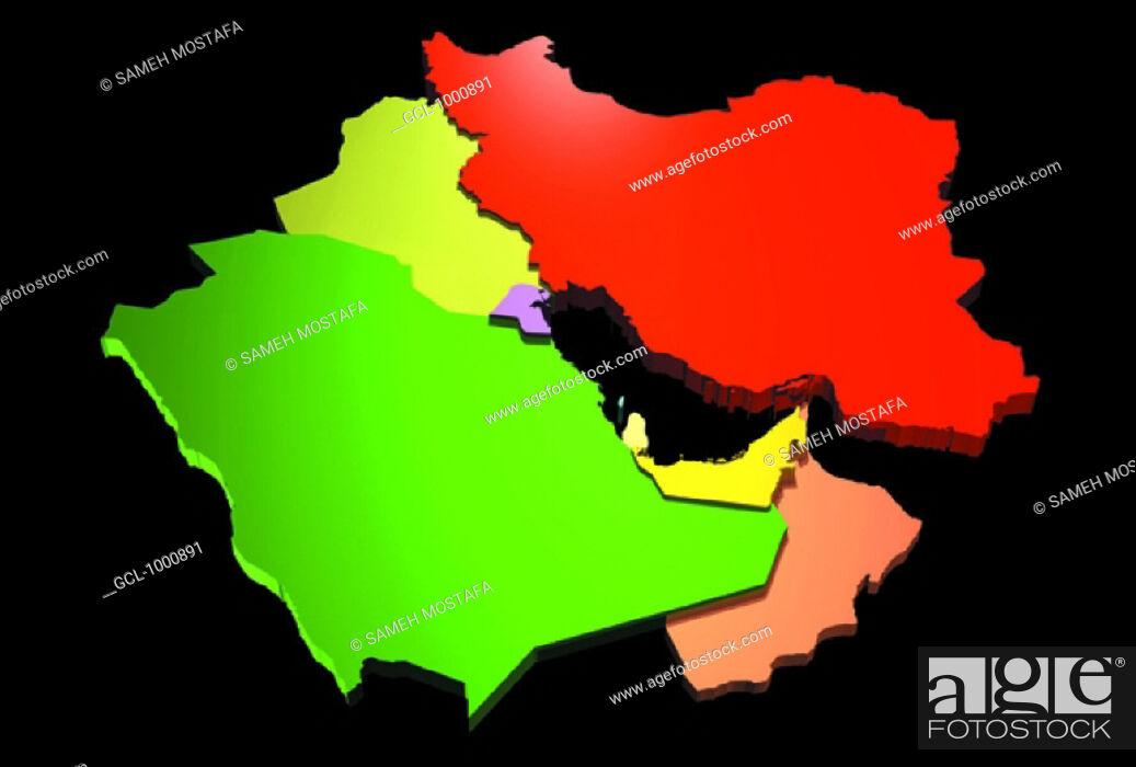 map of Saudi Arabia Oman UAE Qatar Bahrain Kuwait Iraq Iran