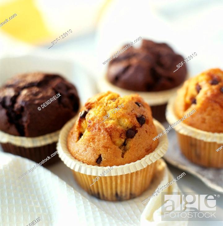 Stock Photo: Chocolate muffins and chocolate chip muffins.