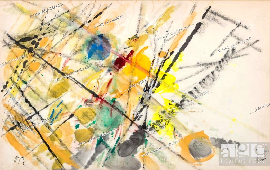 Stock Photo: Composition by Larionov, Mikhail Fyodorovich (1881-1964)/Mixed media on canvas/Futurism/Russia/Private Collection/27x42/Abstract Art/Painting/Komposition von.
