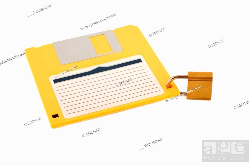 Photo de stock: lock diskette symbol protection.