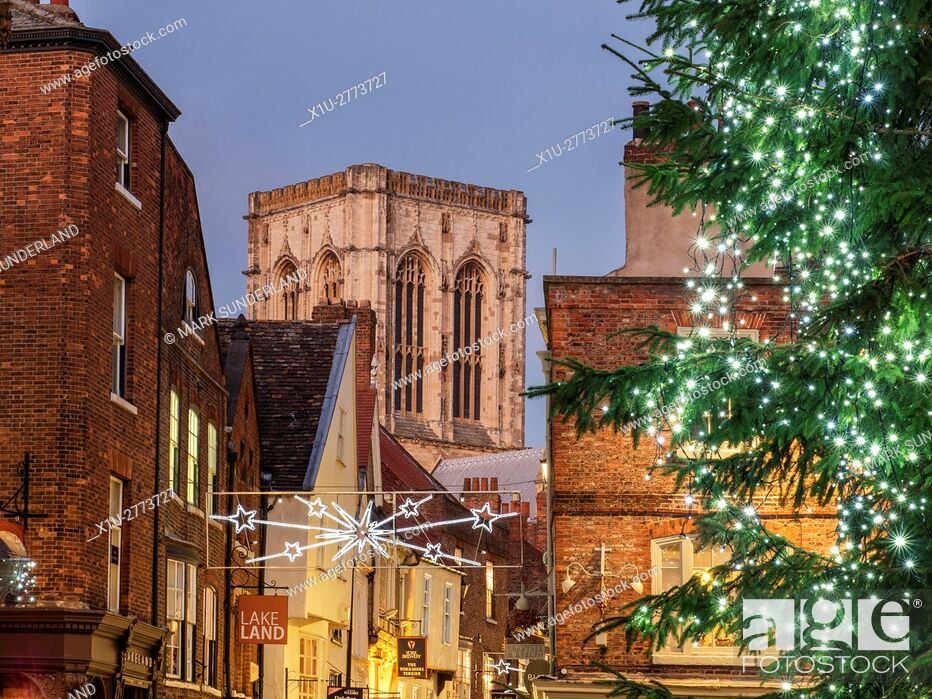 Stock Photo: York Minster and Stonegate from St Helens Square at Dusk at Christmas York Yorkshire England.