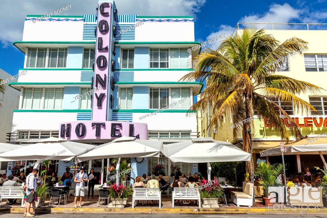 Stock Photo Cafe Restaurant At The Colony Hotel South Beach Miami Florida Usa
