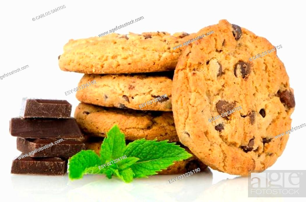 Stock Photo: Chocolate chip cookies with chocolate parts.