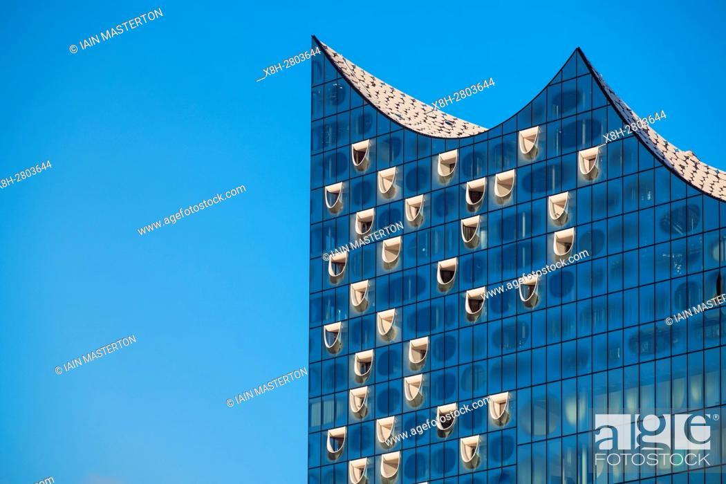 Stock Photo: Elbphilharmonie, Hamburg, Germany; Detail of facade of new Elbphilharmonie opera house in Hamburg, Germany.