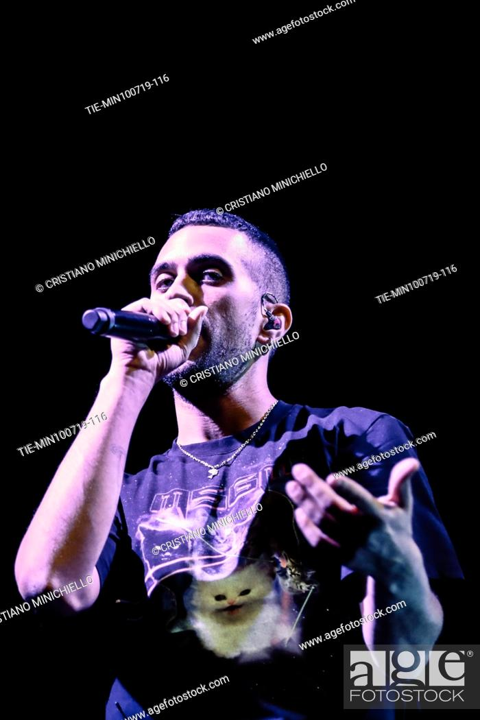 Stock Photo: Mahmood in concert at the 62th Festival dei 2 Mondi of Spoleto, ITALY-10-07-2019.