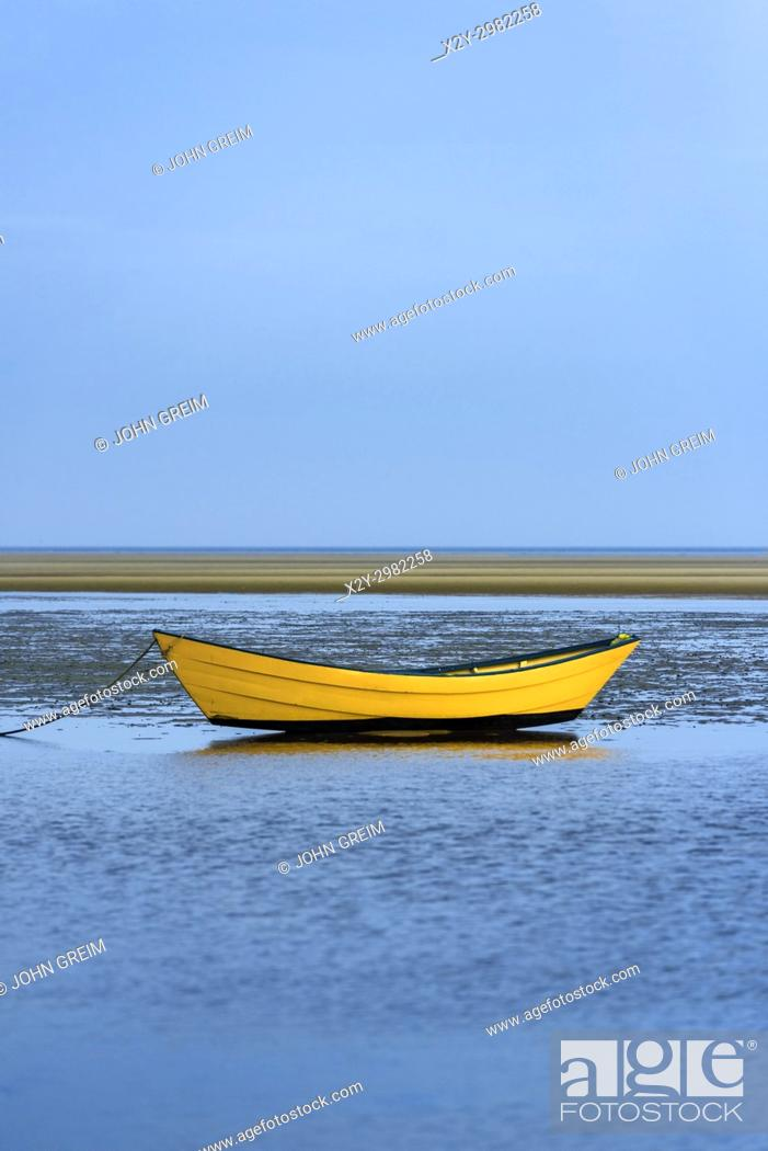 Stock Photo: Lone dory on a overcast morning, Brewster, Cape Cod, Massachusetts, USA.
