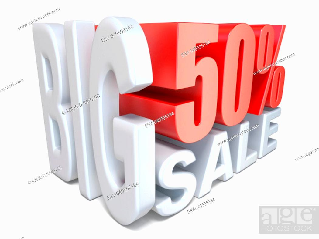 Stock Photo: White red big sale sign PERCENT 50 3D render illustration isolated on white background.