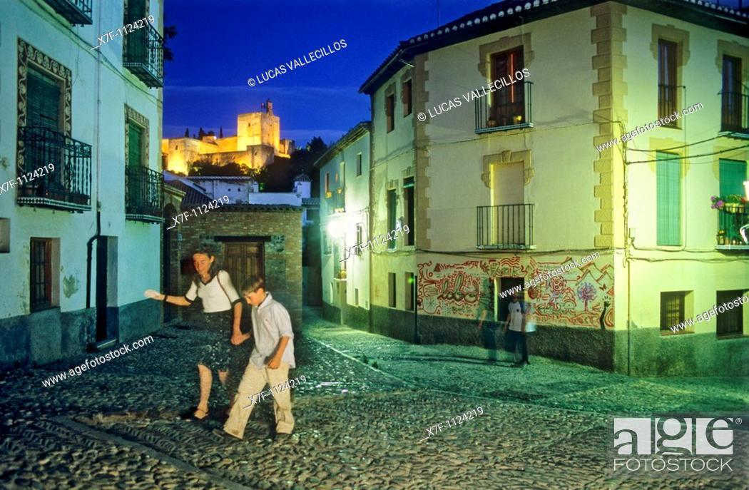 Stock Photo: AlhambraVela tower as seen from Albaicín quarter  Granada, Andalucia, Spain.