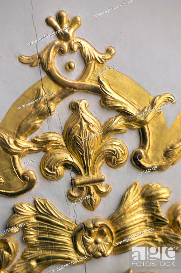 Stock Photo: Royal emblem with fleur de lys. Chateau of Versailles. France.