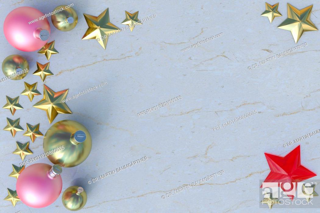 Christbaumkugeln Sterne.Christmas Baubles And Stars On Marble Photo Realistic
