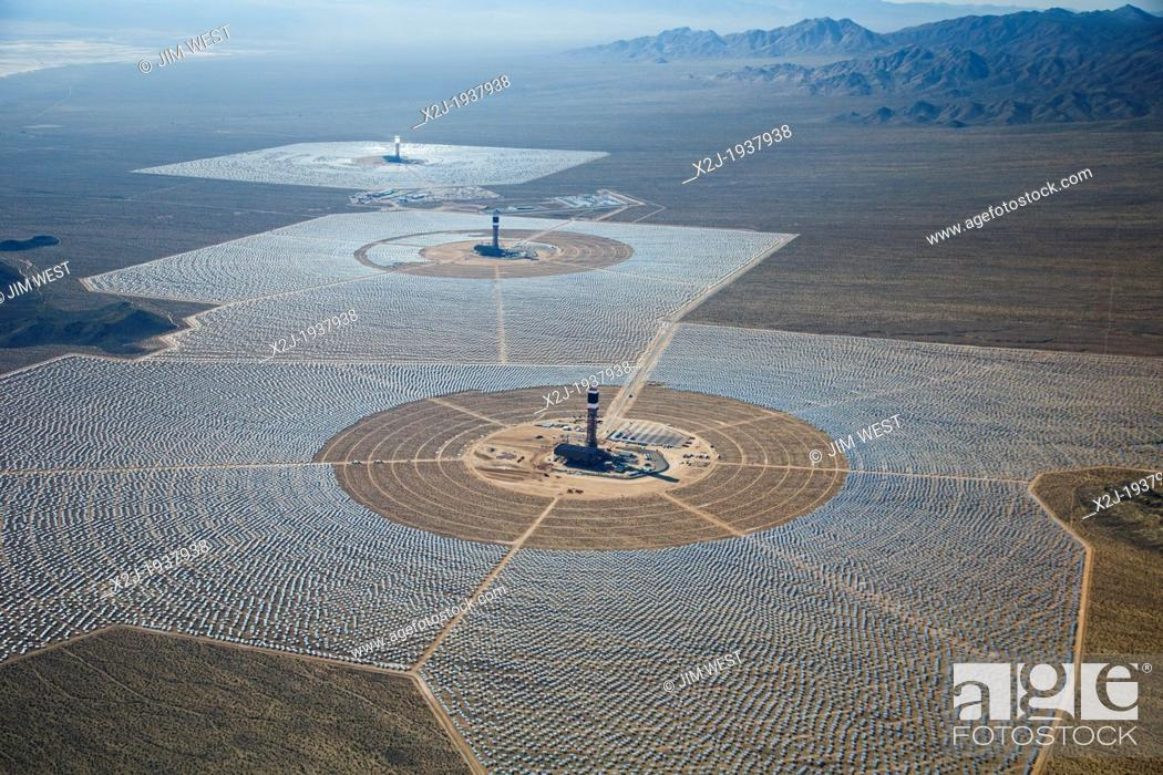 Stock Photo: San Bernardino County, California - Brightsource Energy's Ivanpah Solar Project, a solar thermal electric generating facility in the Mojave Desert.