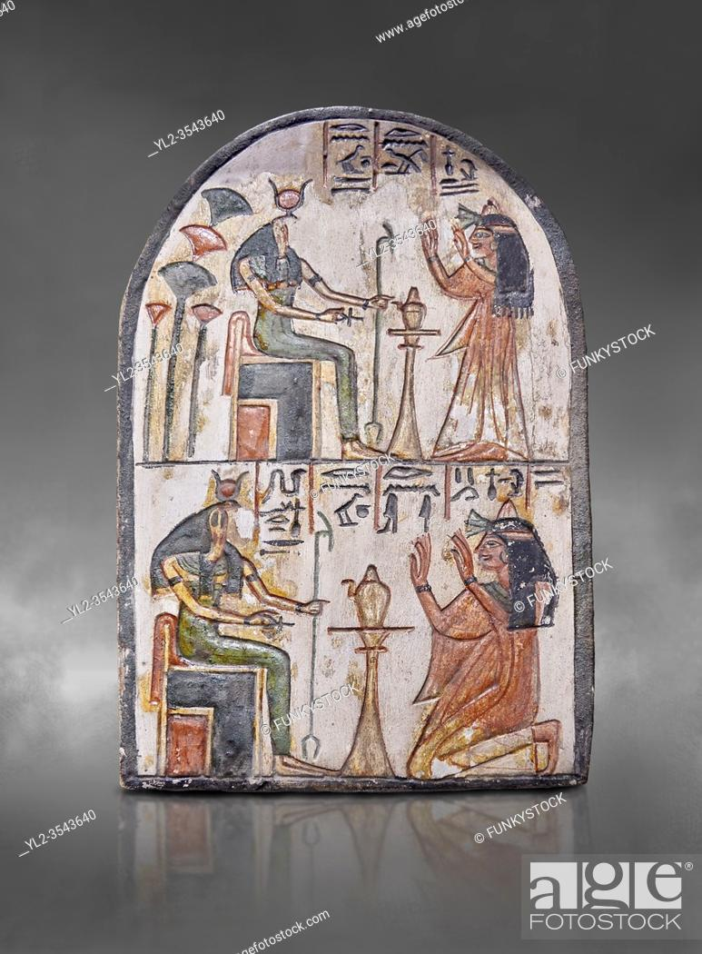Stock Photo: Ancient Egyptian Ra stele , limestone, New Kingdom, 19th Dynasty, (1279-1190 BC), Deir el-Medina, Egyptian Museum, Turin. Grey background. .