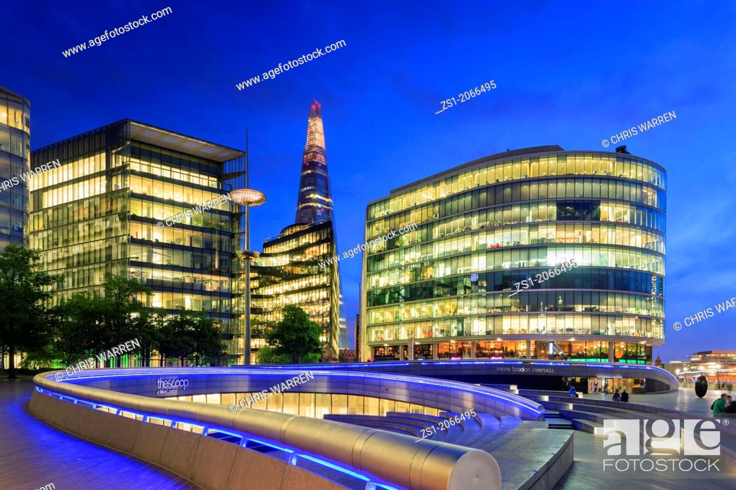Stock Photo: The Shard and More London Development on the South Bank London England at twilight.