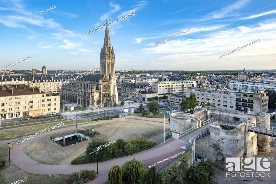 Stock Photo: Views of the church of San Pedro and the Castle of Caen.