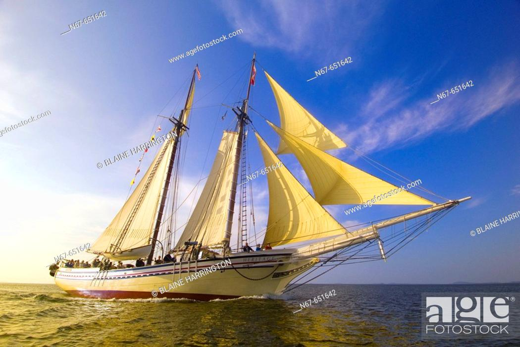 Stock Photo: Schooner Heritage sailing into Pulpit harbor, Penobscot Bay, Maine USA.
