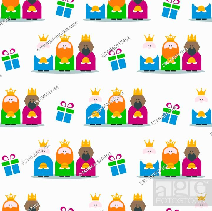 Stock Vector: Three Kings and gifts seamless pattern. Flat vector Illustration.