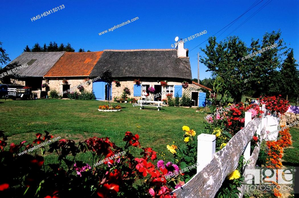 Stock Photo: France, Yonne, Quarre les Tombes, Valtats Hamlet, a Restored Typical Farm of the Morvan Region.
