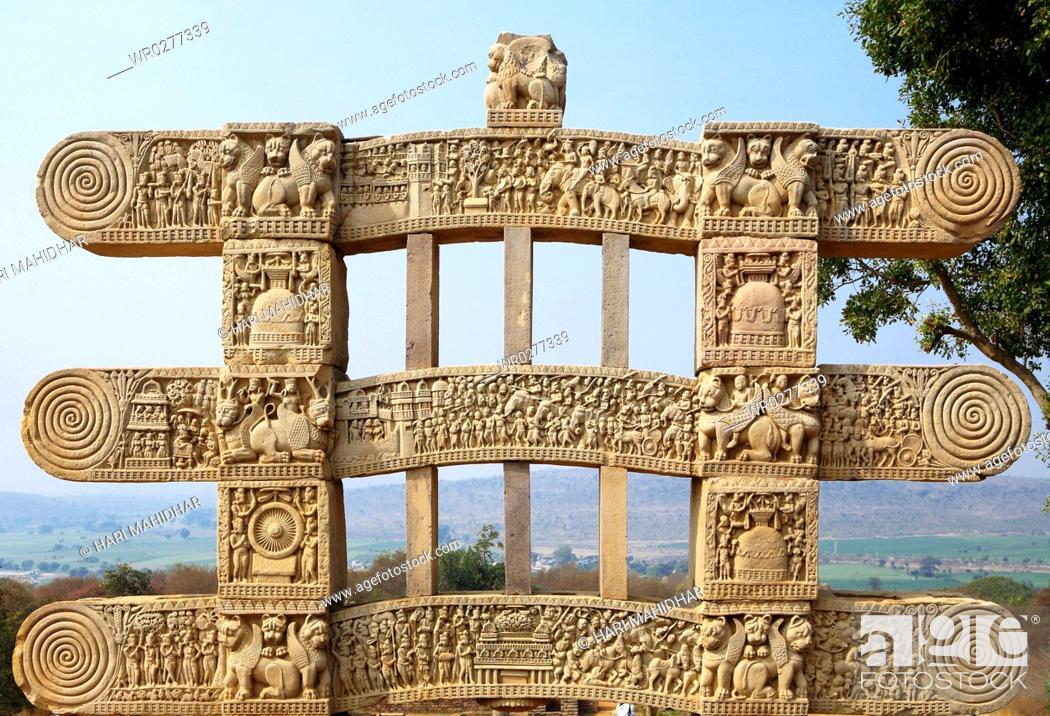 Stock Photo: Stories of Buddha seen on inner view three panels of western gateway of stupa 1 , Sanchi near Bhopal , Madhya Pradesh , India.