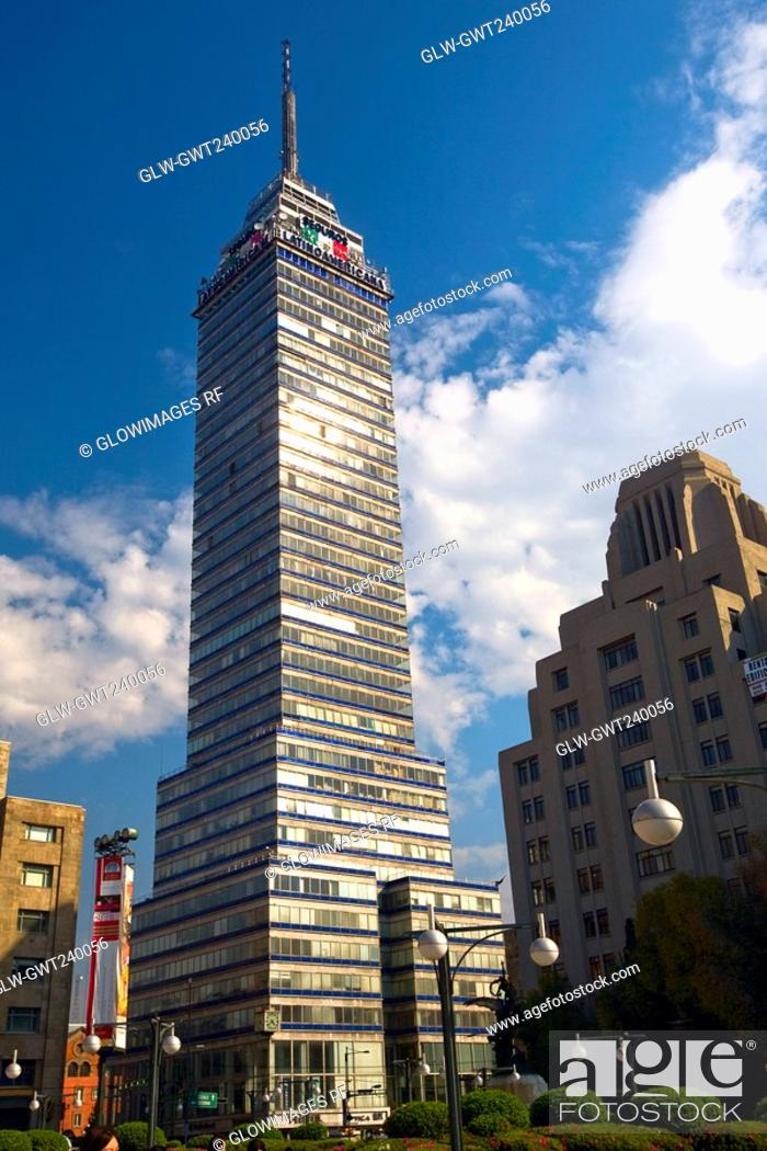 Stock Photo: Low angle view of a tower, Torre Latinoamericana, Mexico city, Mexico.