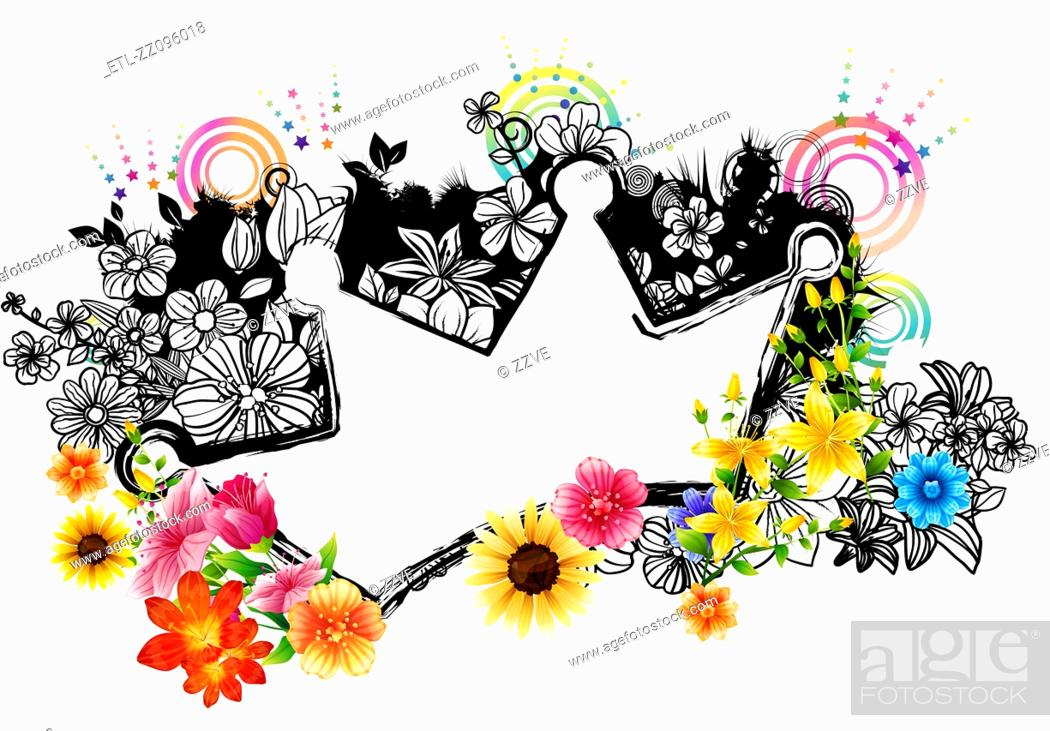 Stock Photo: Crown label with flora design.
