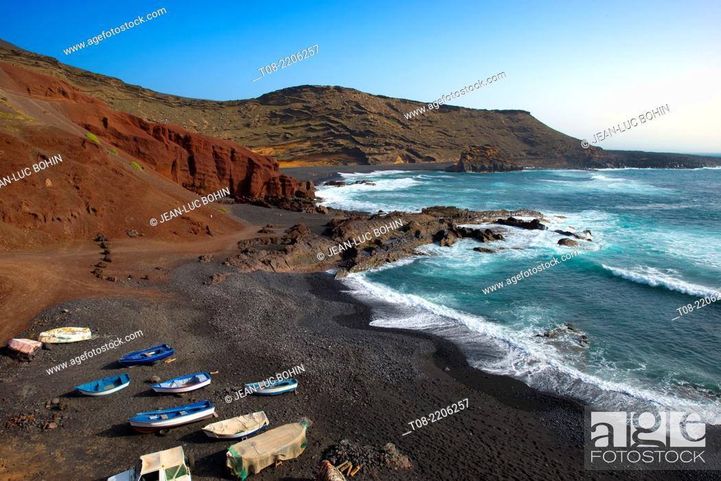 Stock Photo: canary islands,lanzarote : El Golfo.