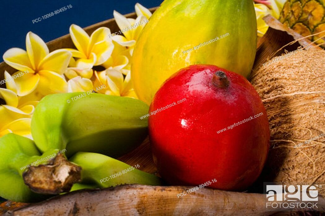 Stock Photo: Studio shot of a variety of tropical fruit close-up.