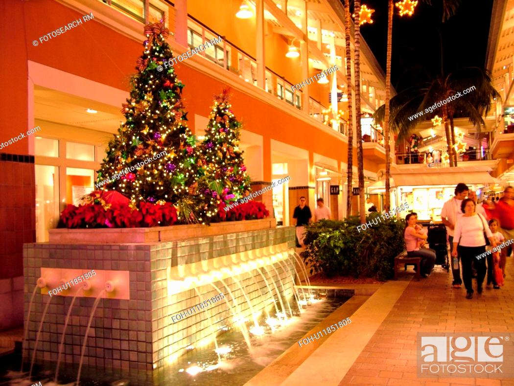 stock photo miami fl florida biscayne bay bayside marketplace evenings interior christmas decorations