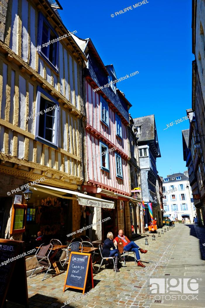 Stock Photo: France, Briitany, Finistere, Quimper, Medieval houses on Boucheries street.