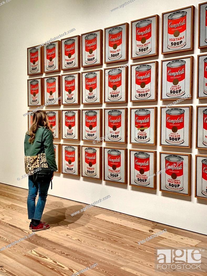 Imagen: Woman Admiring Andy Warhol's Campbell's Soup Paintings. New York, NY, USA.