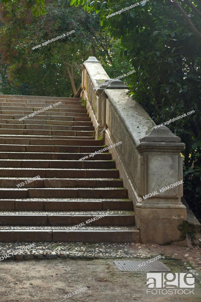 Stock Photo: Steps in Park near Alhambra in Granada, Spain.