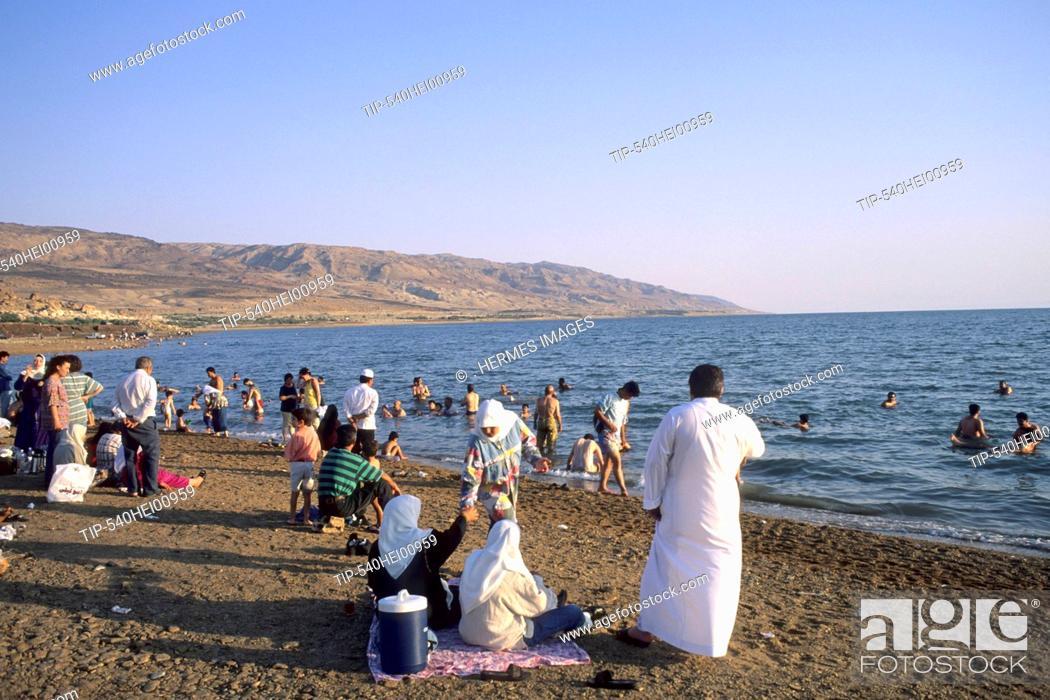 Stock Photo: Jordan, Dead Sea, people on beach.
