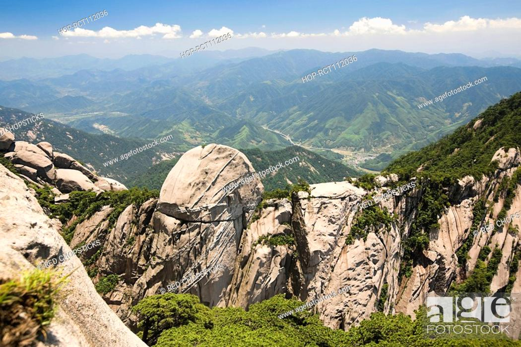 Stock Photo: High angle view of mountains, Huangshan Mountains, Anhui Province, China.