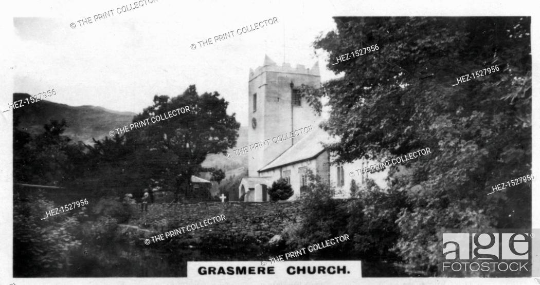 Stock Photo: 'Grasmere Church', Wordsworth's burial place, Cumbria, c1920s. Parts of St Oswald's Church dates from the 13th century. English poet William Wordsworth.